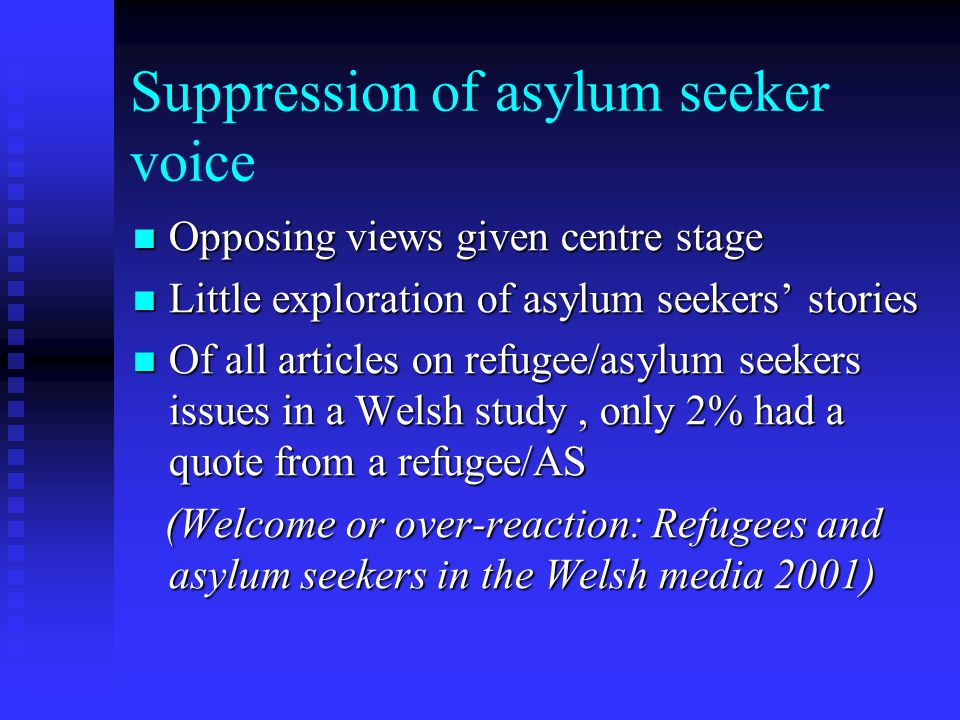 Repetition of media myths Britain number 1 magnet Britain number 1 magnet Asylum seekers as terrorists Asylum seekers as terrorists Asylum seekers get more than UK residents Asylum seekers get more than UK residents