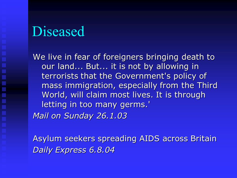 Suppression of asylum seeker voice Opposing views given centre stage Opposing views given centre stage Little exploration of asylum seekers' stories Little exploration of asylum seekers' stories Of all articles on refugee/asylum seekers issues in a Welsh study, only 2% had a quote from a refugee/AS Of all articles on refugee/asylum seekers issues in a Welsh study, only 2% had a quote from a refugee/AS (Welcome or over-reaction: Refugees and asylum seekers in the Welsh media 2001) (Welcome or over-reaction: Refugees and asylum seekers in the Welsh media 2001)
