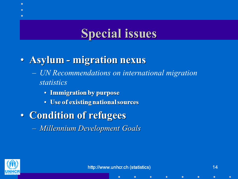 http://www.unhcr.ch (statistics)14 Special issues Asylum - migration nexusAsylum - migration nexus –UN Recommendations on international migration stat