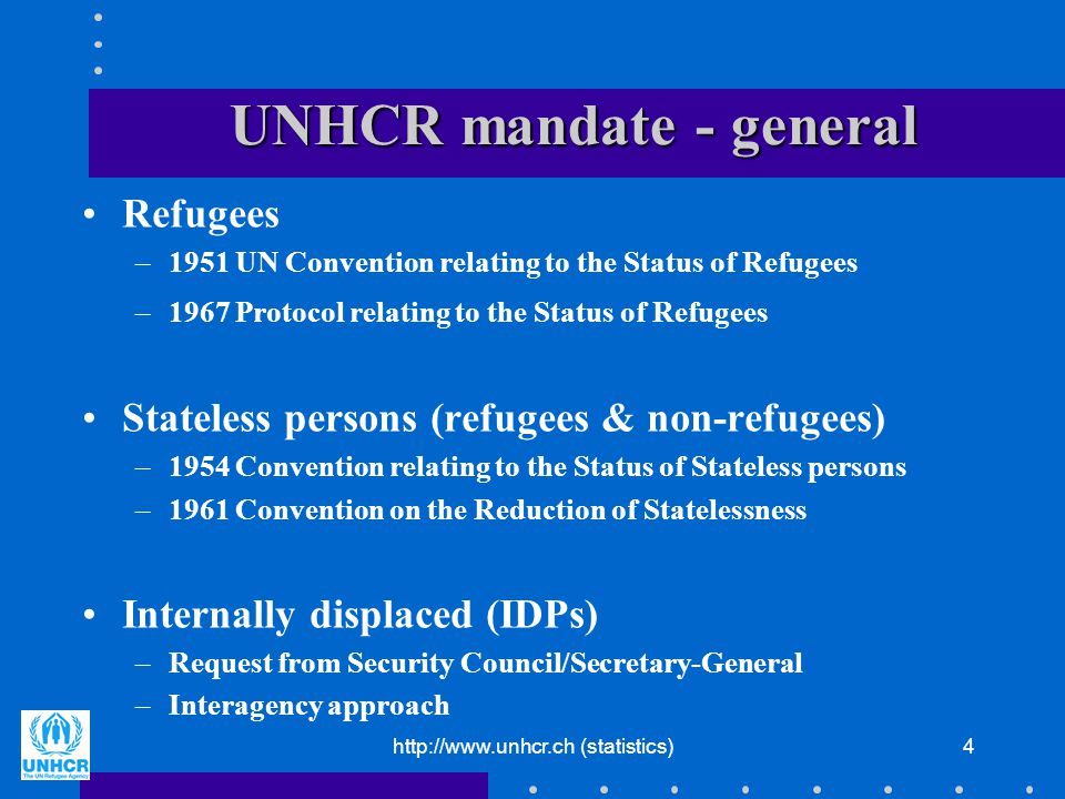 http://www.unhcr.ch (statistics)15 Immigration by purpose Flows –Long-term residence permits issued by arrival category (asylum, work, study, family reunion,...) –Family reunion differentiated by primary arrival category (asylum, work, study,...) Stocks –Population register –Population census