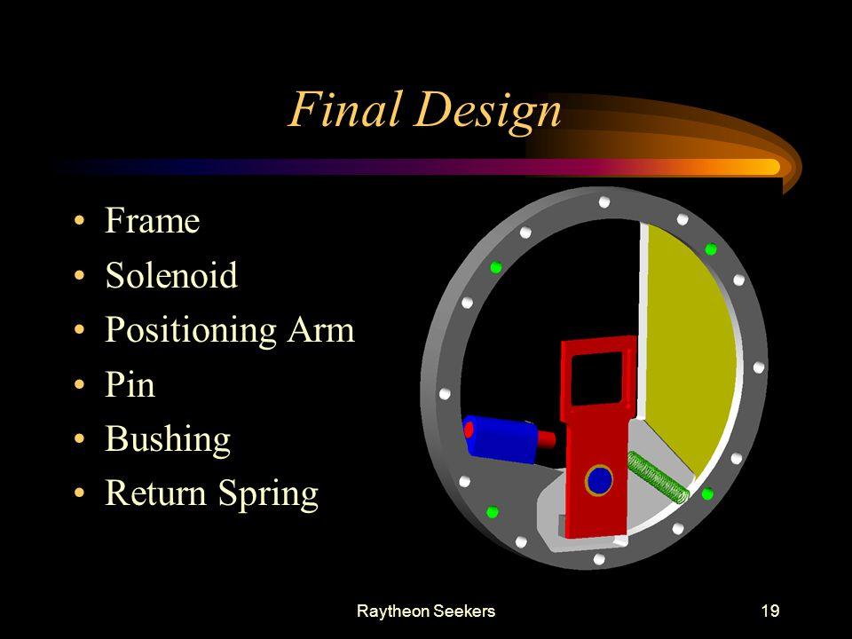 Raytheon Seekers19 Final Design Frame Solenoid Positioning Arm Pin Bushing Return Spring