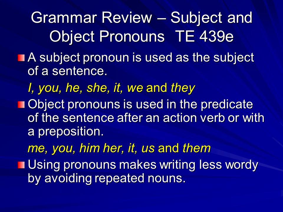 Grammar Review – Pronouns Pronouns are words that take the place of nouns. Pronouns that take place of a singular noun are singular pronouns I, me, he