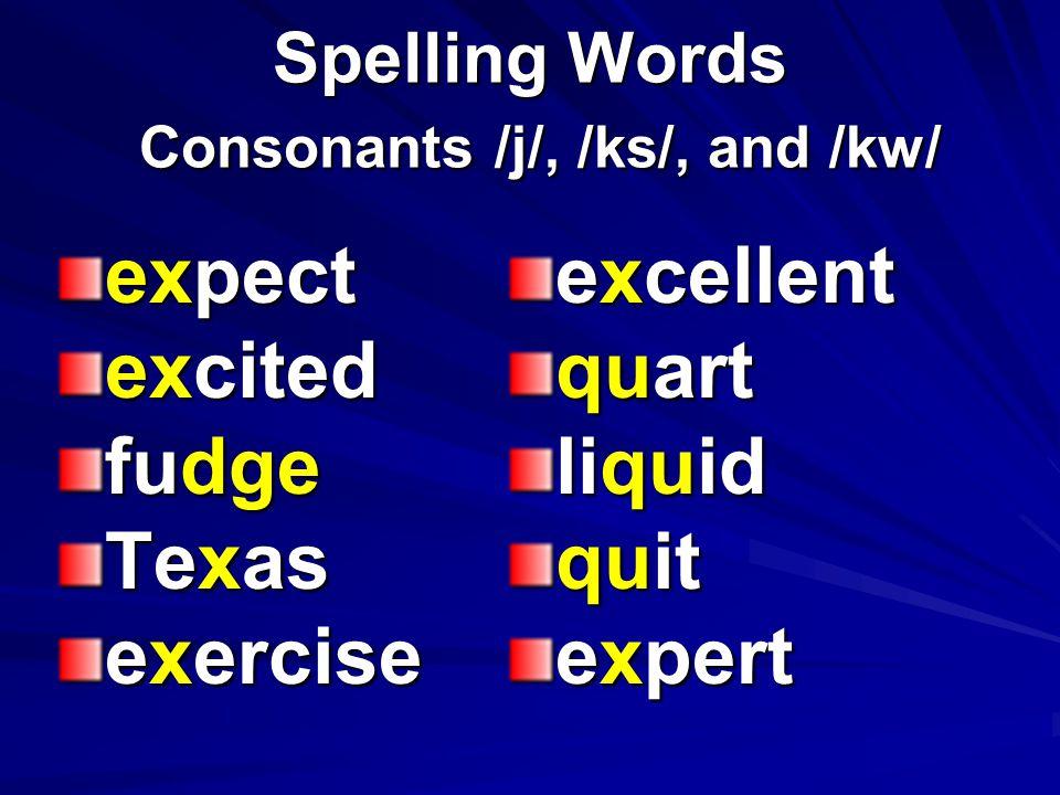 Spelling Words Consonants /j/, /ks/, and /kw/ village except quick explain bridge charge knowledge equal question queen