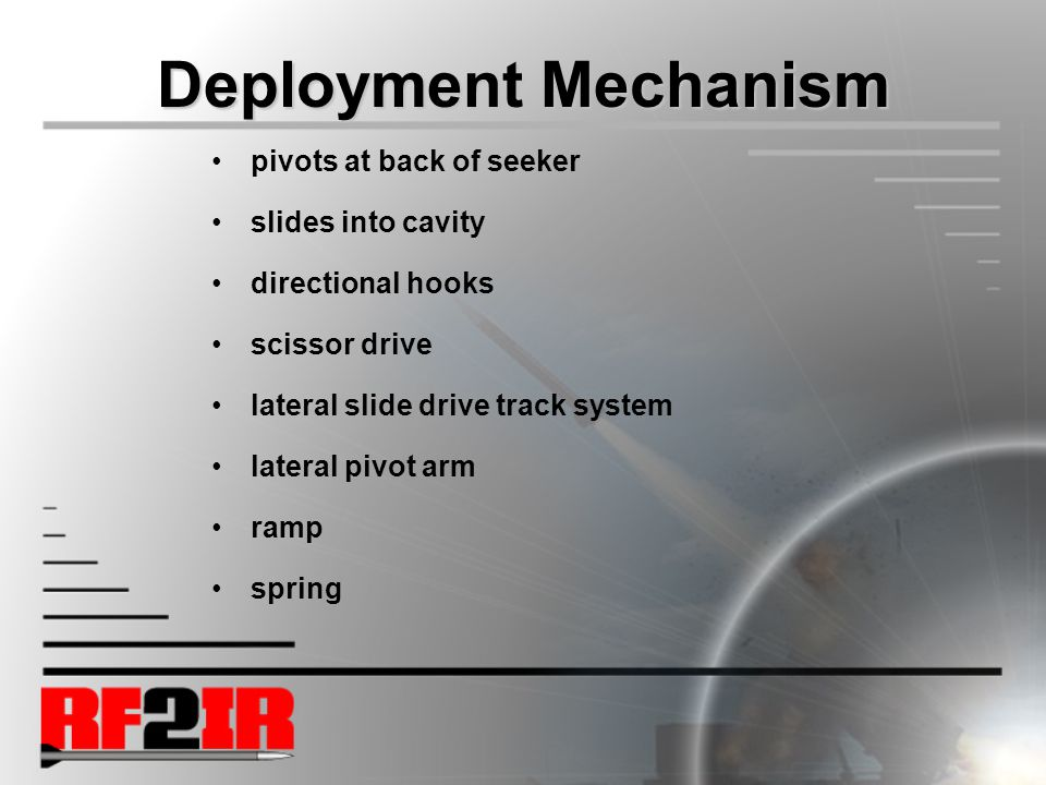 Deployment Mechanism pivots at back of seeker slides into cavity directional hooks scissor drive lateral slide drive track system lateral pivot arm ramp spring