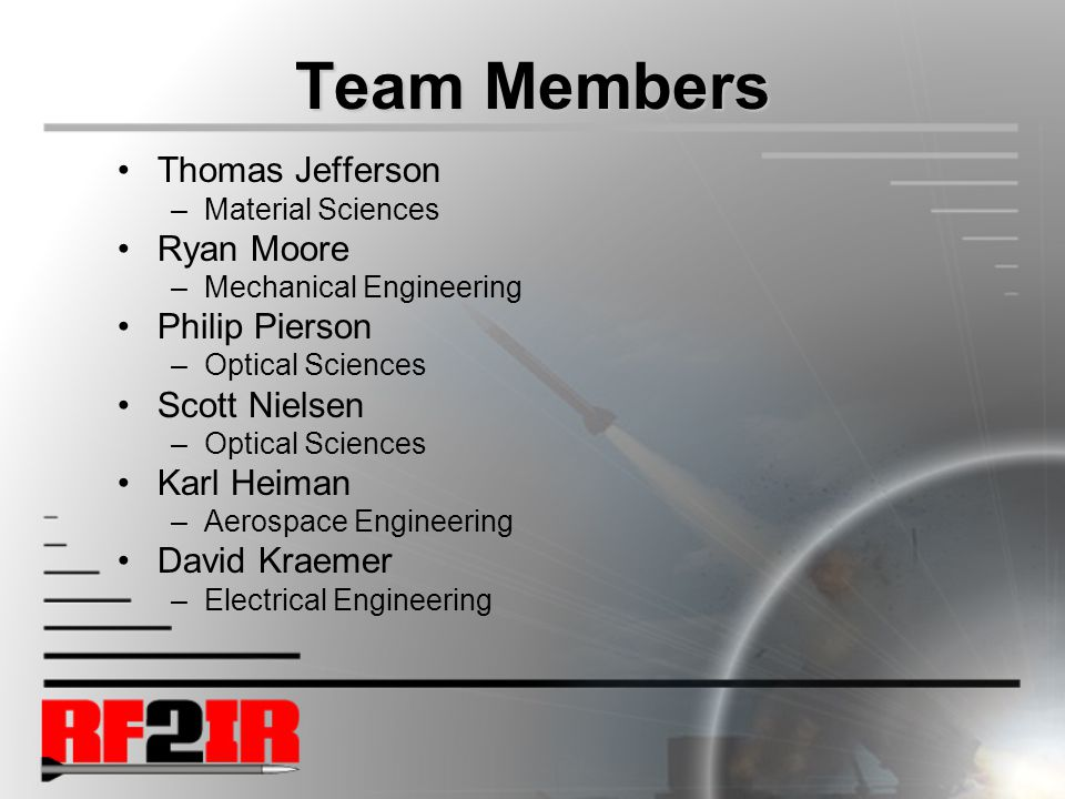 Team Members Thomas Jefferson –Material Sciences Ryan Moore –Mechanical Engineering Philip Pierson –Optical Sciences Scott Nielsen –Optical Sciences Karl Heiman –Aerospace Engineering David Kraemer –Electrical Engineering