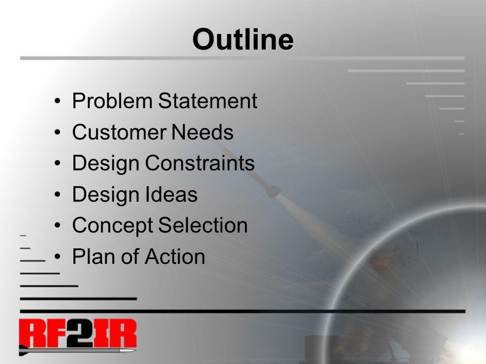 Outline Problem Statement Customer Needs Design Constraints Design Ideas Concept Selection Plan of Action