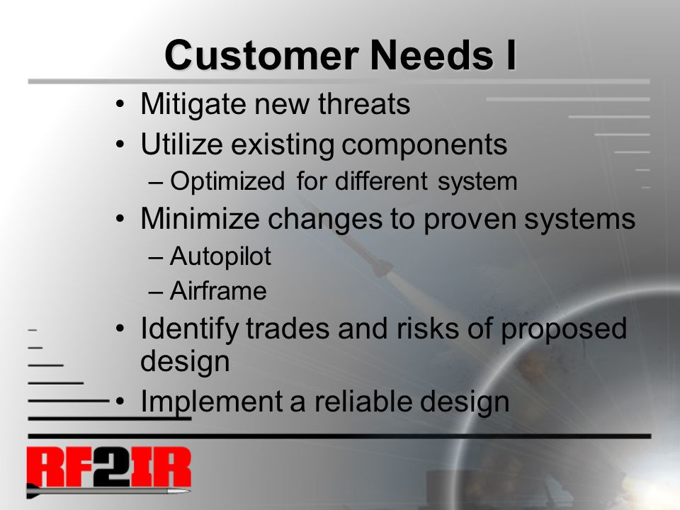 Customer Needs I Mitigate new threats Utilize existing components –Optimized for different system Minimize changes to proven systems –Autopilot –Airframe Identify trades and risks of proposed design Implement a reliable design