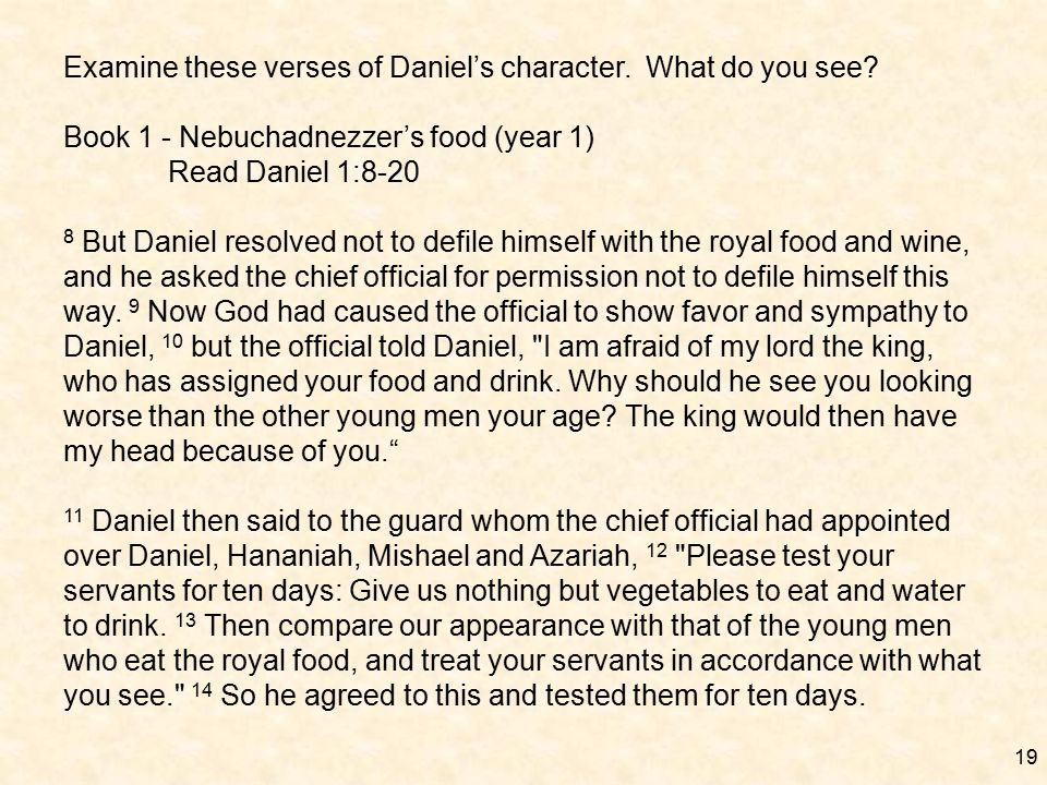 19 Examine these verses of Daniel's character. What do you see.