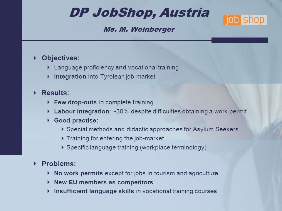 DP JobShop, Austria Ms. M.