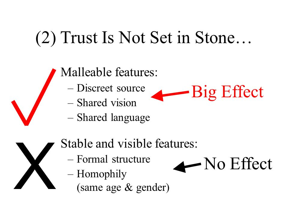 (2) Trust Is Not Set in Stone… Malleable features: –Discreet source –Shared vision –Shared language Stable and visible features: –Formal structure –Homophily (same age & gender) Big Effect No Effect X