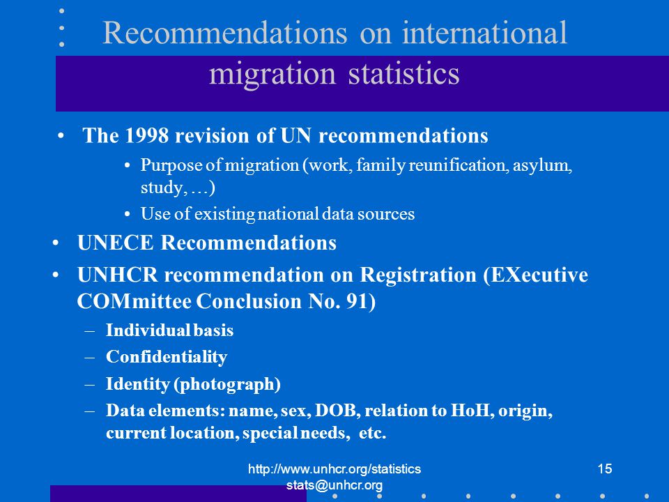 http://www.unhcr.org/statistics stats@unhcr.org 15 Recommendations on international migration statistics The 1998 revision of UN recommendations Purpose of migration (work, family reunification, asylum, study, …) Use of existing national data sources UNECE Recommendations UNHCR recommendation on Registration (EXecutive COMmittee Conclusion No.