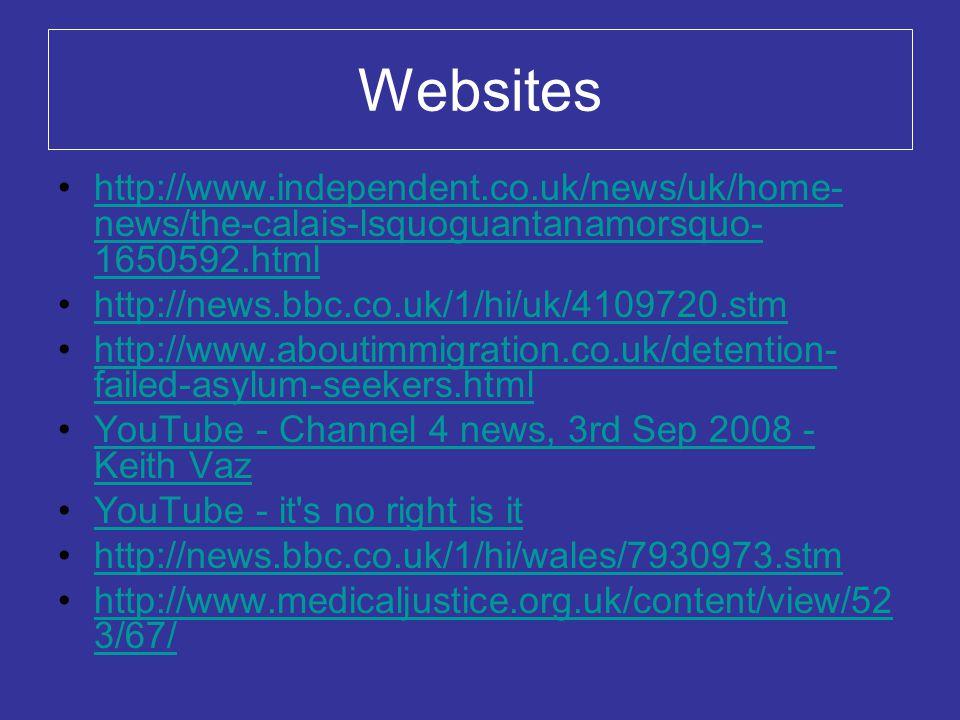 Websites http://www.independent.co.uk/news/uk/home- news/the-calais-lsquoguantanamorsquo- 1650592.htmlhttp://www.independent.co.uk/news/uk/home- news/