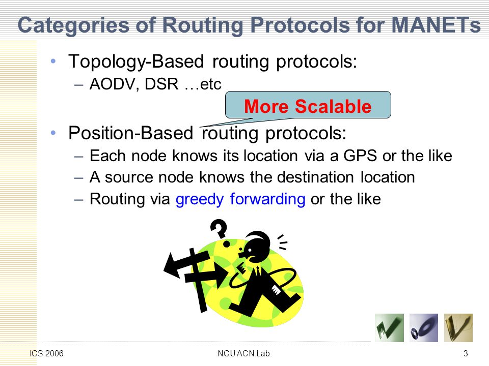 NCU ACN Lab.3ICS 2006 Categories of Routing Protocols for MANETs Topology-Based routing protocols: –AODV, DSR … etc Position-Based routing protocols: –Each node knows its location via a GPS or the like –A source node knows the destination location –Routing via greedy forwarding or the like More Scalable