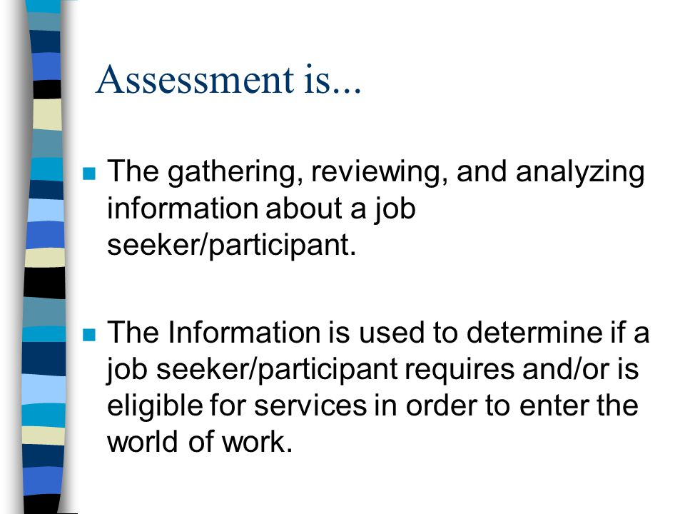 Assessment is...