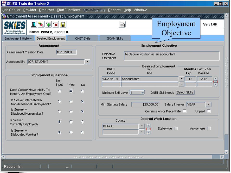 Employment Objective