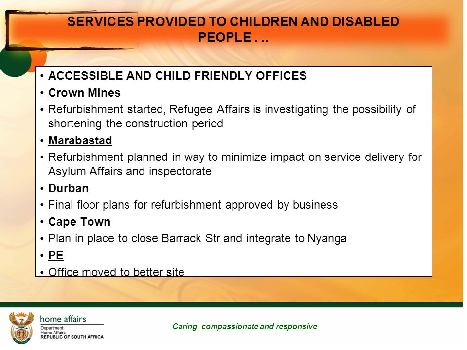 SERVICES PROVIDED TO CHILDREN AND DISABLED PEOPLE...