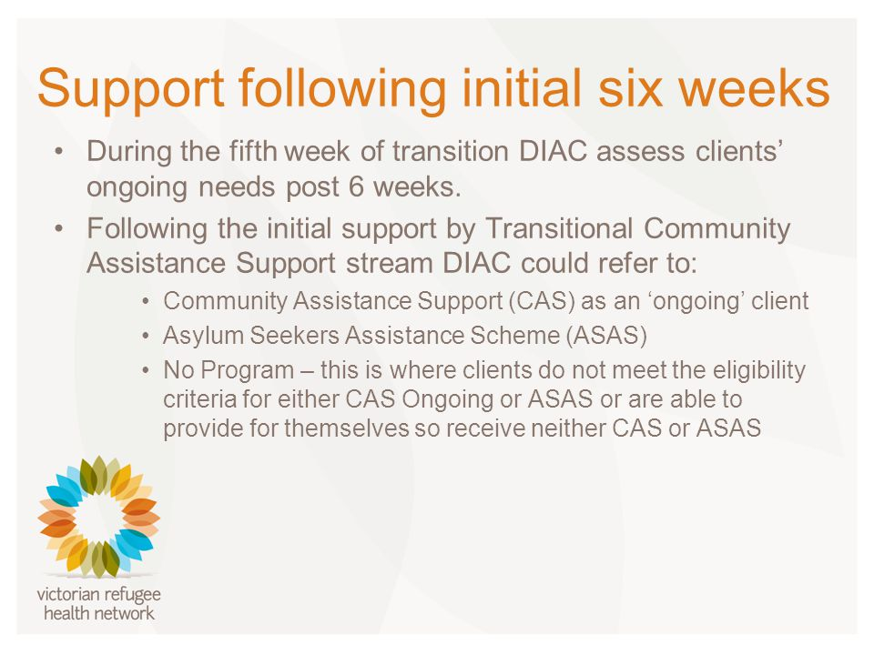 Support following initial six weeks During the fifth week of transition DIAC assess clients' ongoing needs post 6 weeks.
