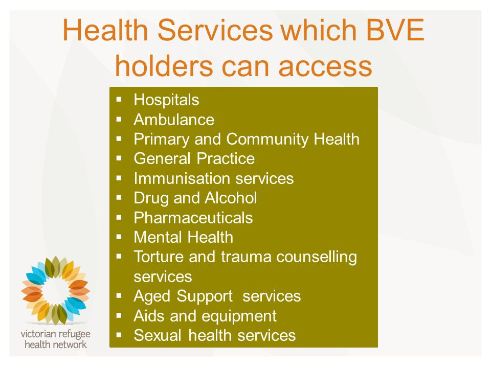 Health Services which BVE holders can access  Hospitals  Ambulance  Primary and Community Health  General Practice  Immunisation services  Drug and Alcohol  Pharmaceuticals  Mental Health  Torture and trauma counselling services  Aged Support services  Aids and equipment  Sexual health services