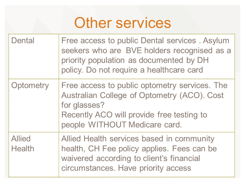 Other services DentalFree access to public Dental services.