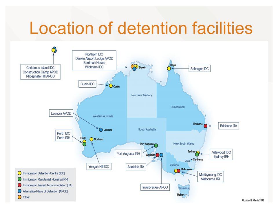 Average Time Spent in Detention Period DetainedTotal% of Total 7 days or less450.5% 8 days - 31 days110412.2% 32 days - 91 days357639.5% 92 days - 182 days264829.2% 183 days - 365 days7638.4% 366 days - 547 days1711.9% 548 days - 730 days1611.8% Greater than 730 days5916.5% Total9059100% Length of Time in Detention as at 31 Dec 2012 Source: DIAC, Immigration Detention Statistics Summary, 31 December 2012