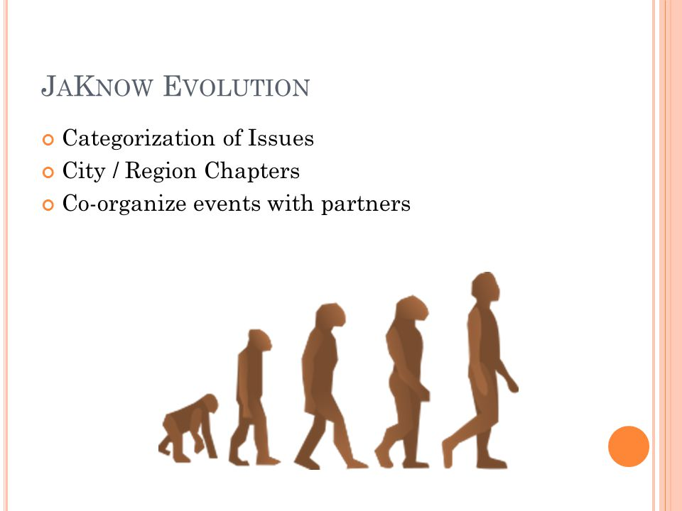 J A K NOW E VOLUTION Categorization of Issues City / Region Chapters Co-organize events with partners