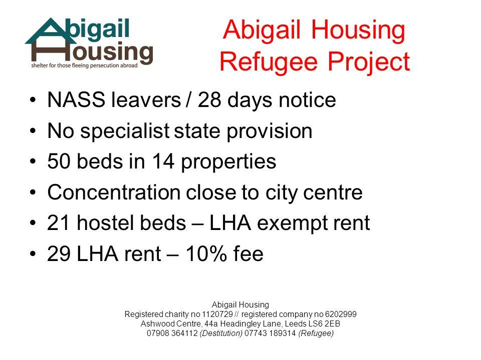 Abigail Housing Registered charity no 1120729 // registered company no 6202999 Ashwood Centre, 44a Headingley Lane, Leeds LS6 2EB 07908 364112 (Destit