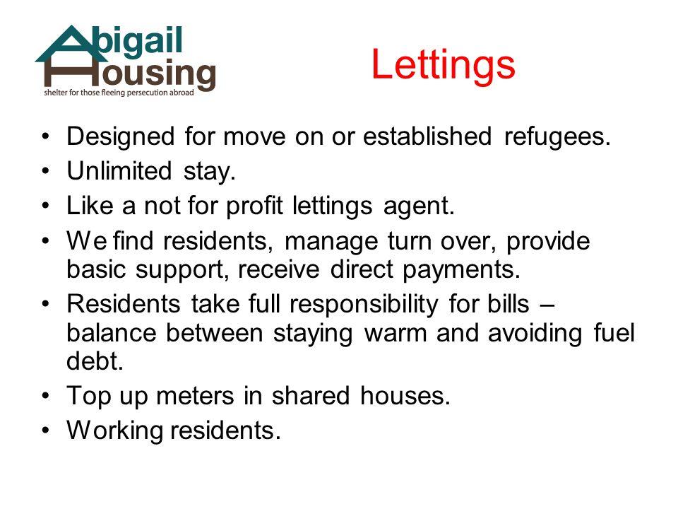 Lettings Designed for move on or established refugees.