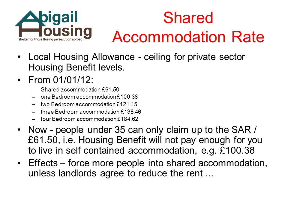 Shared Accommodation Rate Local Housing Allowance - ceiling for private sector Housing Benefit levels.