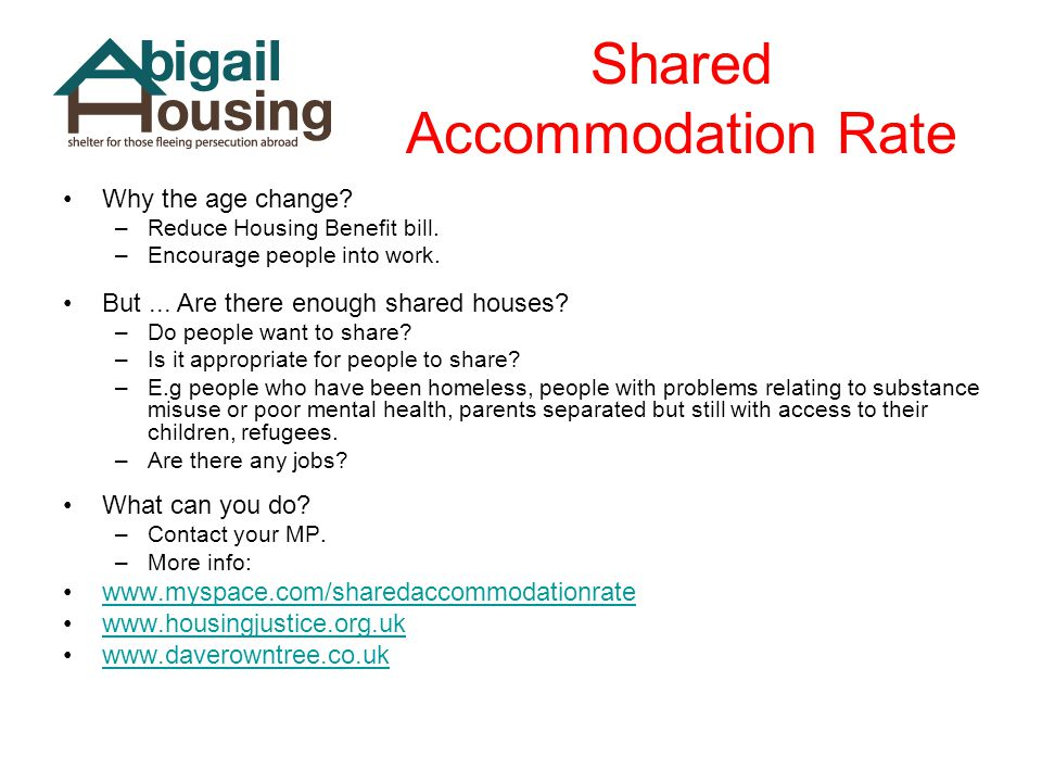 Shared Accommodation Rate Why the age change? –Reduce Housing Benefit bill. –Encourage people into work. But... Are there enough shared houses? –Do pe
