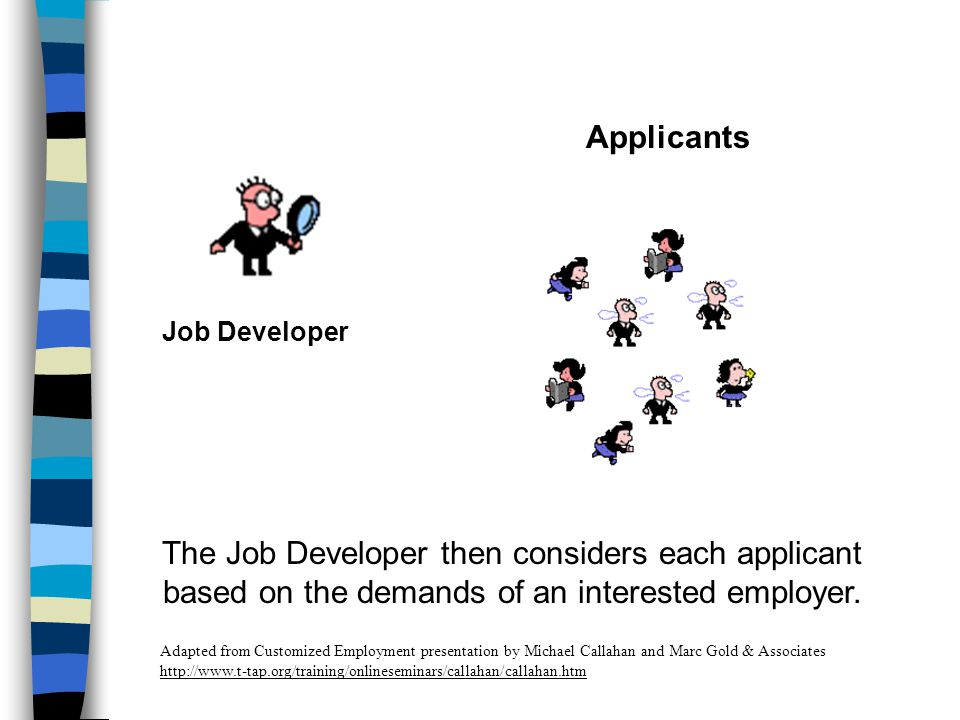 Job Developer Applicants The Job Developer then considers each applicant based on the demands of an interested employer.
