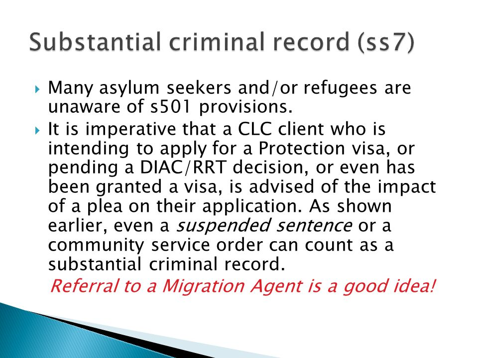  Many asylum seekers and/or refugees are unaware of s501 provisions.