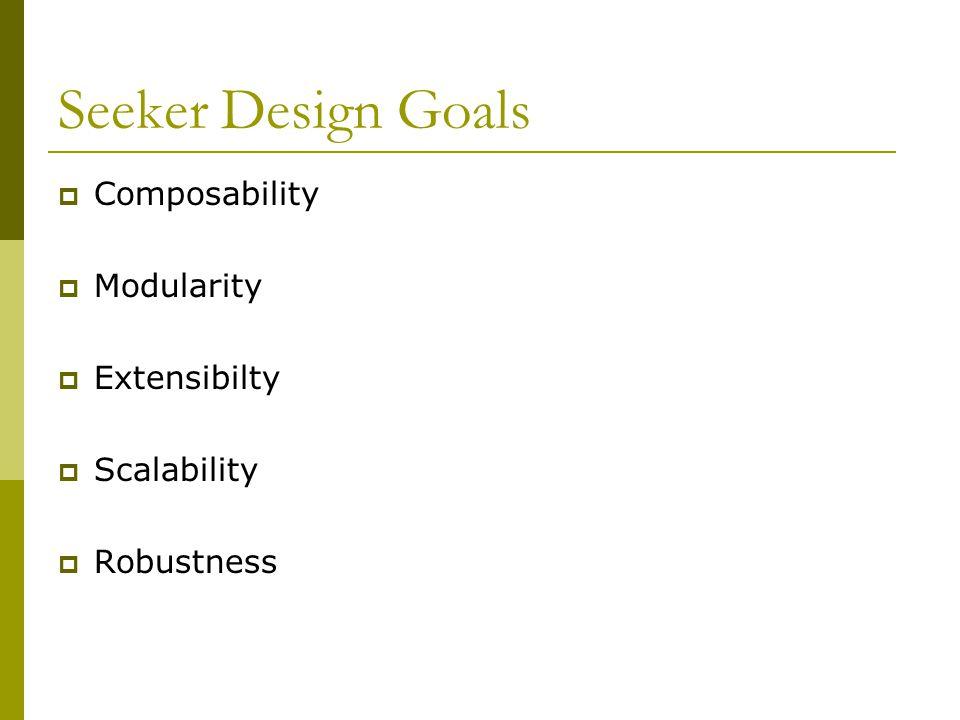 Seeker Design Goals  Composability  Modularity  Extensibilty  Scalability  Robustness