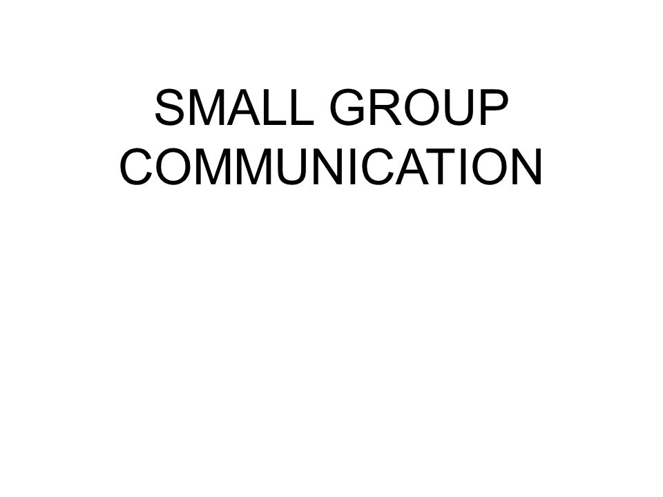 How big is a small group.
