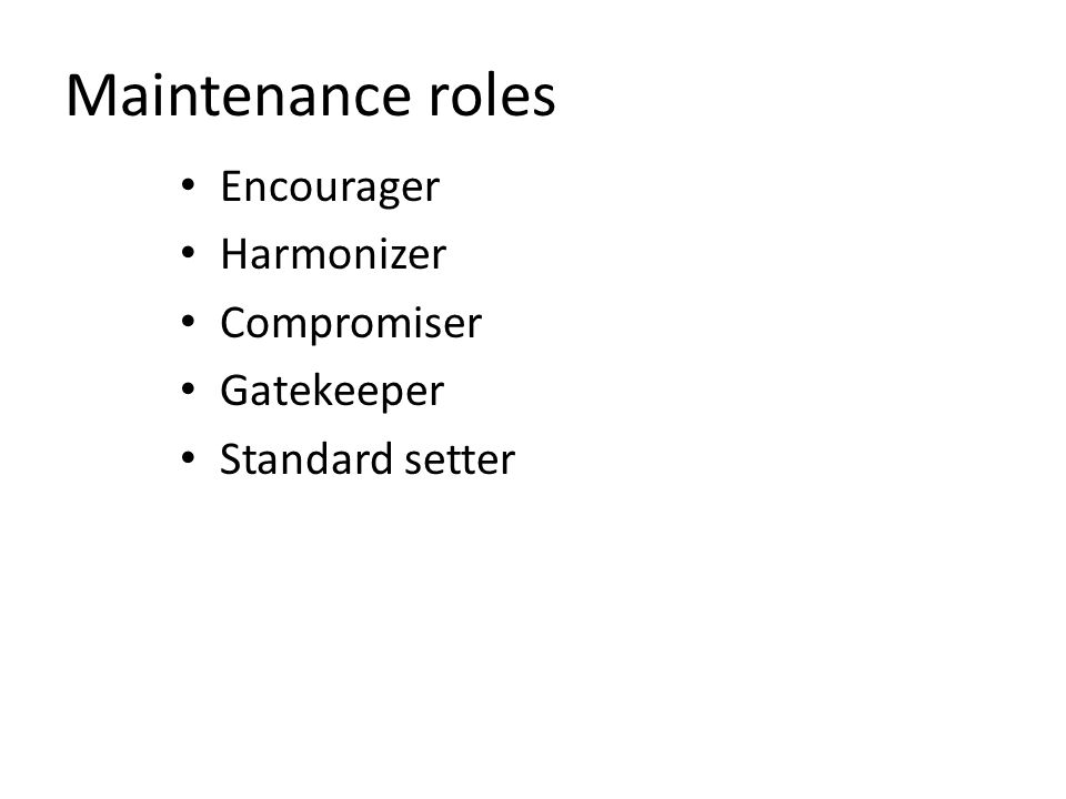 Maintenance roles Encourager Harmonizer Compromiser Gatekeeper Standard setter