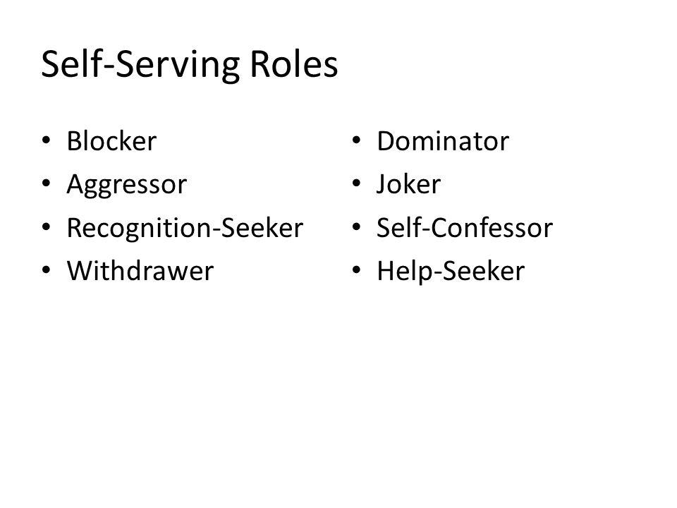 Self-Serving Roles Blocker Aggressor Recognition-Seeker Withdrawer Dominator Joker Self-Confessor Help-Seeker