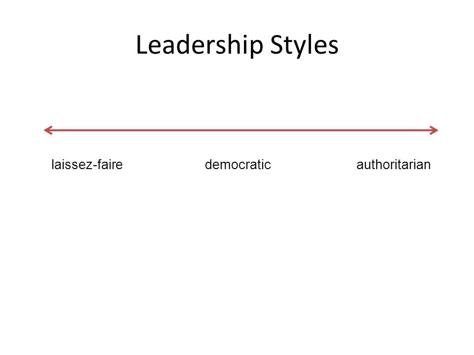 Leadership Styles laissez-faire democratic authoritarian