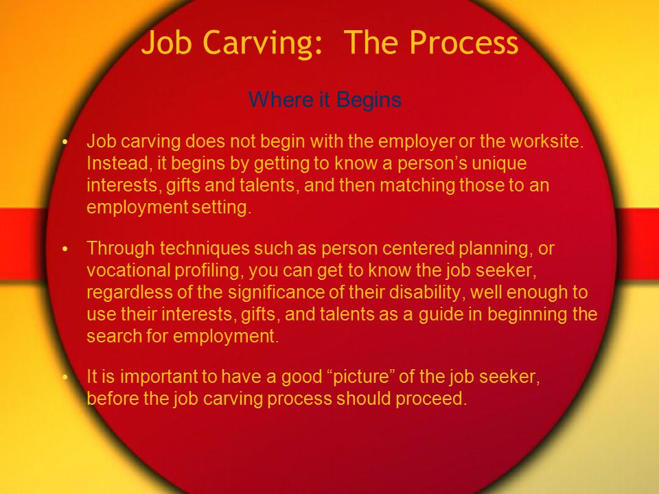 Changing the Hole (Job Carving) Job carving is a method of matching job seeker and employer needs, through finding ways to dissect, disseminate, or go outside the standard existing job descriptions to create employment opportunities.