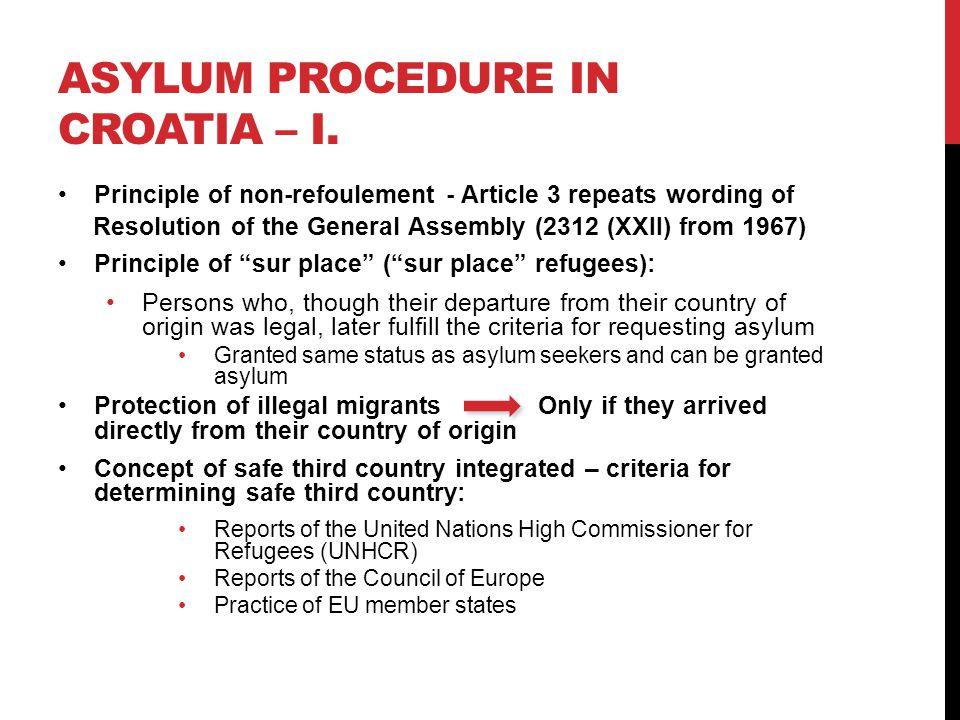 ASYLUM PROCEDURE IN CROATIA – I.