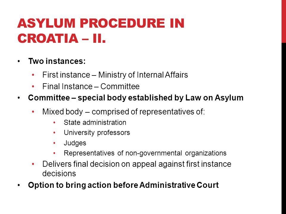 ASYLUM PROCEDURE IN CROATIA – II.