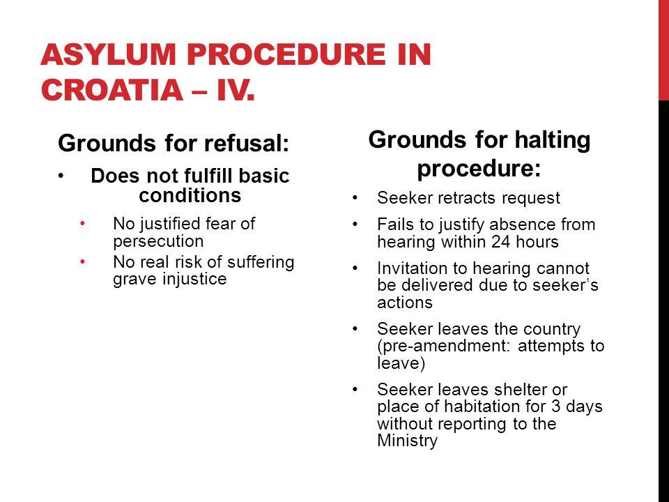 ASYLUM PROCEDURE IN CROATIA – IV.