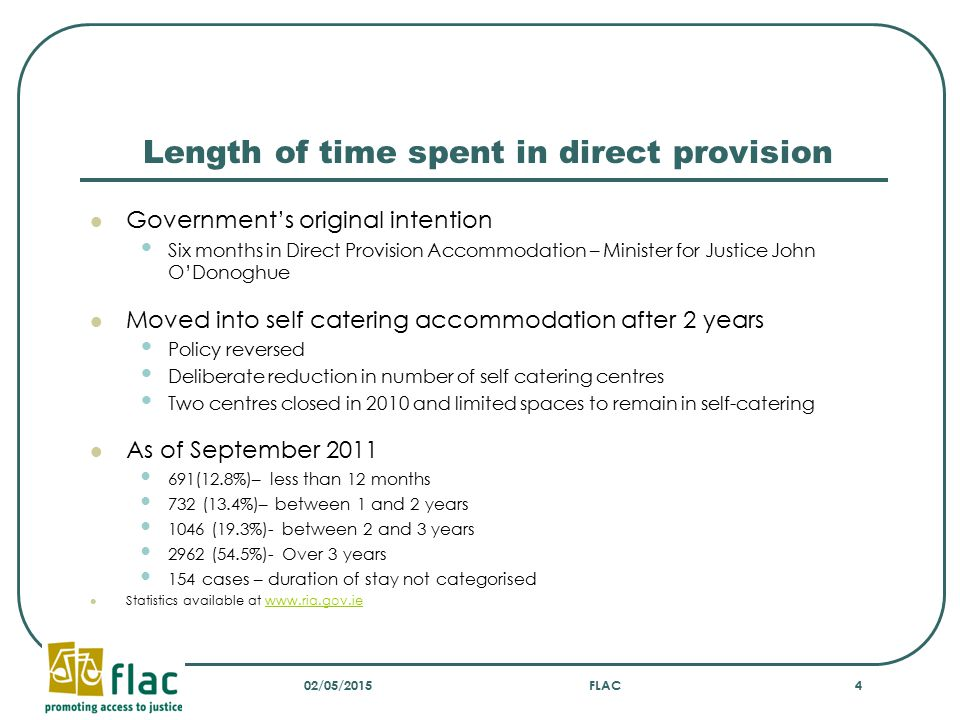 Length of time spent in direct provision Government's original intention Six months in Direct Provision Accommodation – Minister for Justice John O'Do