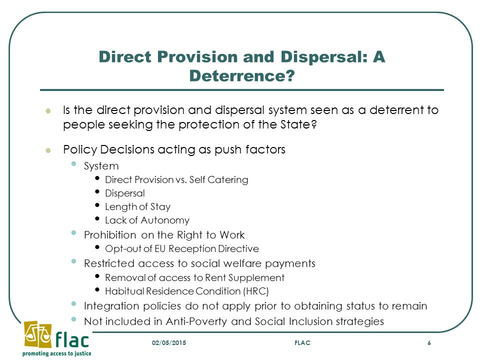 Direct Provision and Dispersal: A Deterrence.