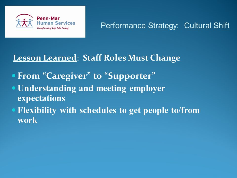 Performance Strategy: Cultural Shift Lesson Learned: Staff Roles Must Change From Caregiver to Supporter Understanding and meeting employer expectations Flexibility with schedules to get people to/from work