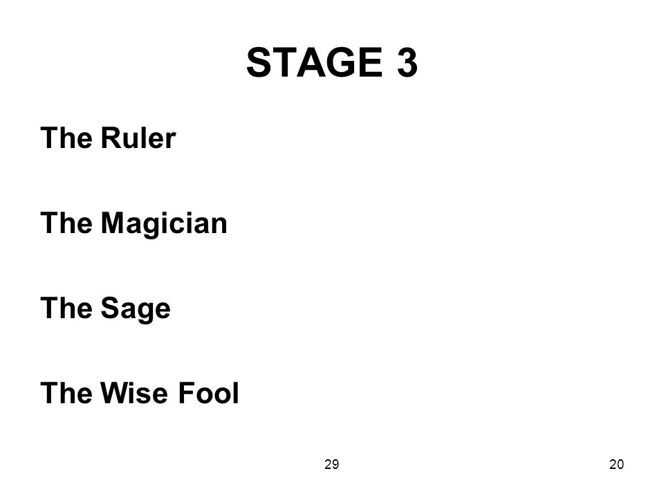 2920 STAGE 3 The Ruler The Magician The Sage The Wise Fool