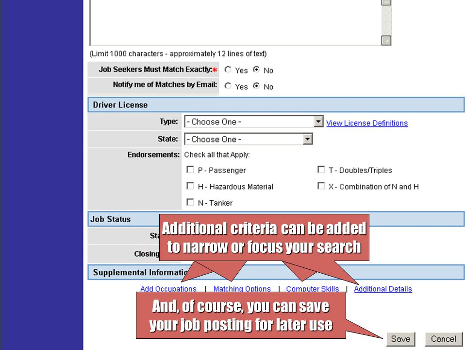 View a list of all current job postings To run an online match for a particular posting, click Run Match