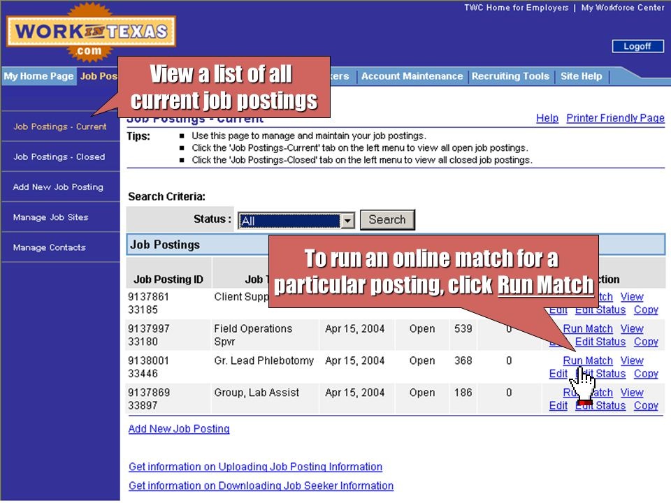 The online match found the following job seekers To view a resume for the job seeker, click View Job Seeker