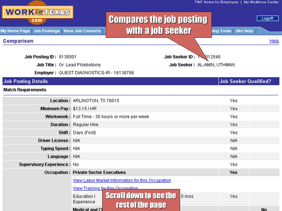 Compares the job posting with a job seeker Scroll down to see the rest of the page