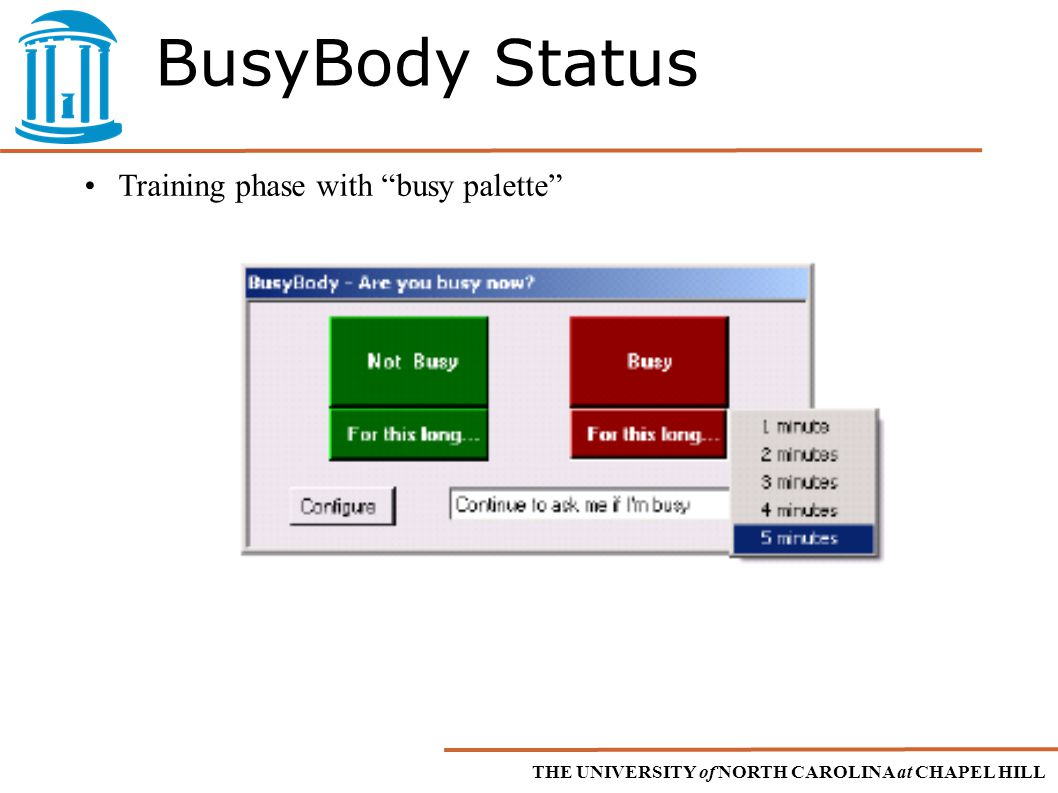 THE UNIVERSITY of NORTH CAROLINA at CHAPEL HILL BusyBody Status Training phase with busy palette