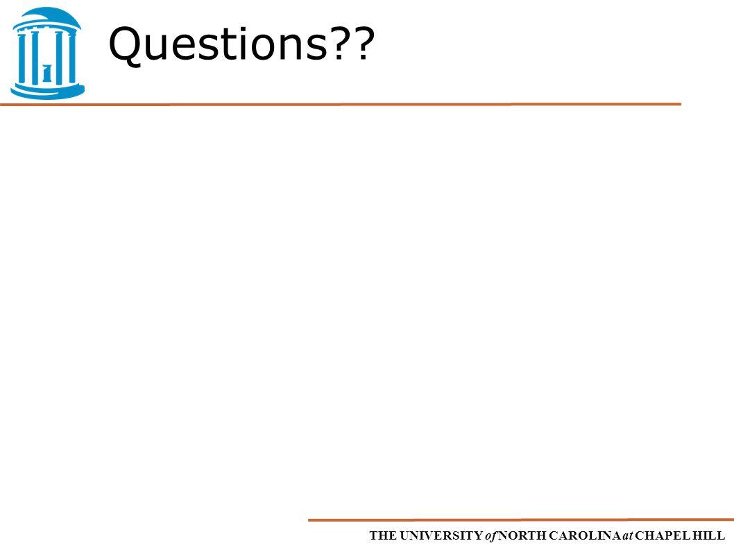 THE UNIVERSITY of NORTH CAROLINA at CHAPEL HILL Questions