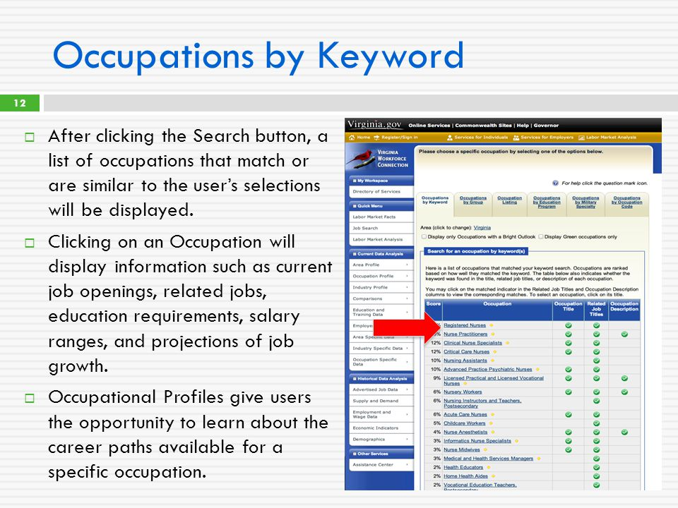 Occupations by Keyword  After clicking the Search button, a list of occupations that match or are similar to the user's selections will be displayed.